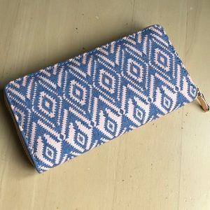 Wallet Tribal Chevron Blue Peach